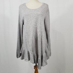 Gray Cashmere/Wool Joie Sweater w/ Ruffled Bottom